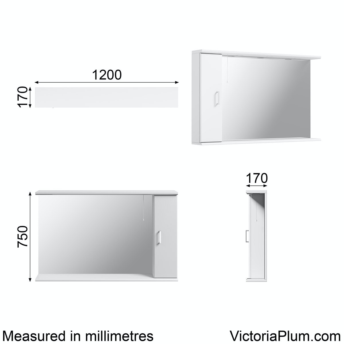 Dimensions for Orchard Eden white illuminated mirror 1200mm
