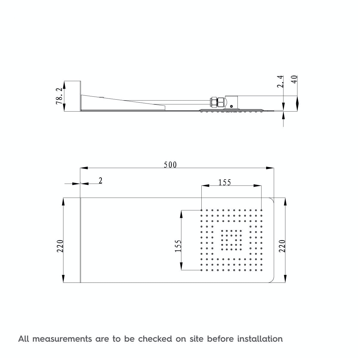 Dimensions for Mode Ando waterfall shower head