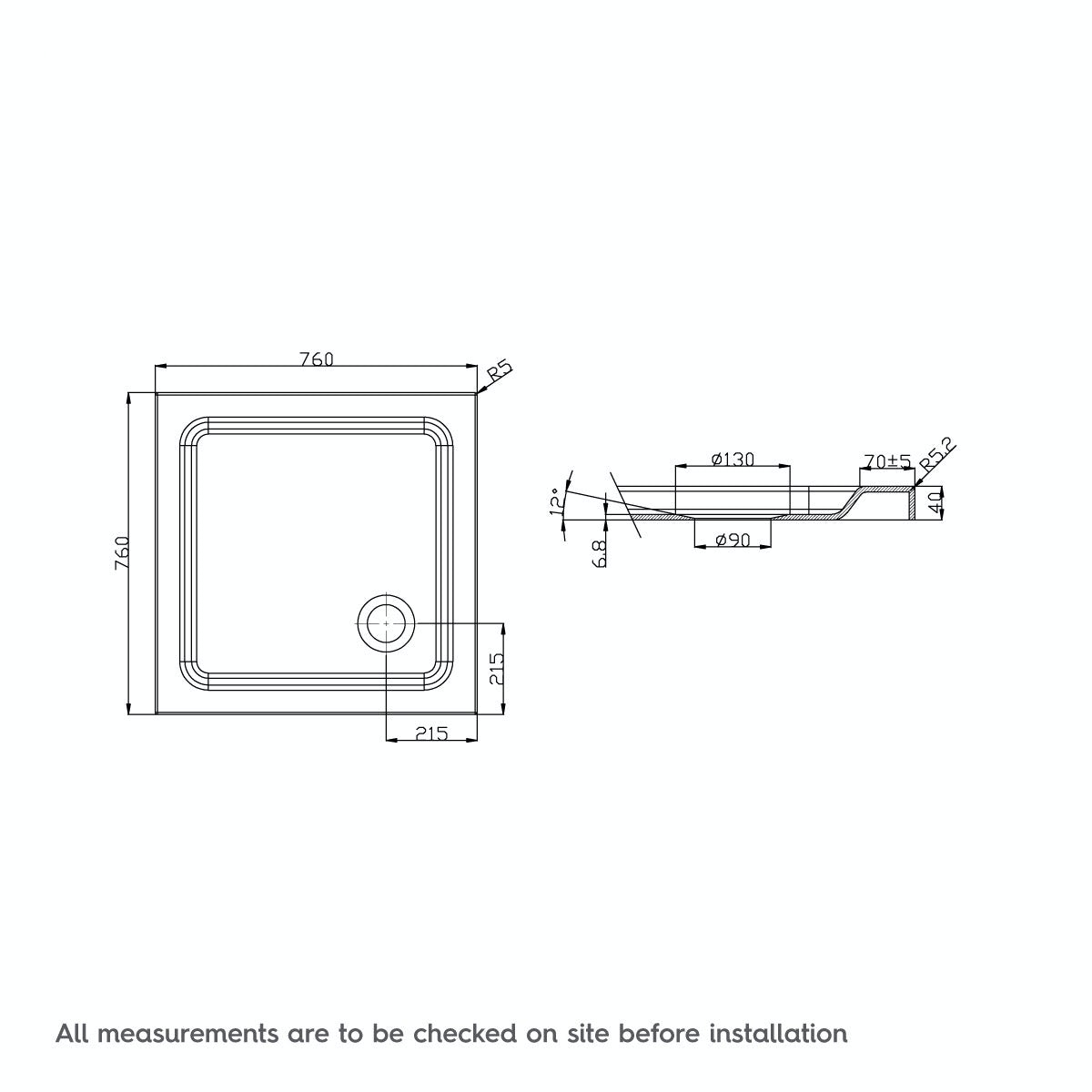 Dimensions for 760 x 760