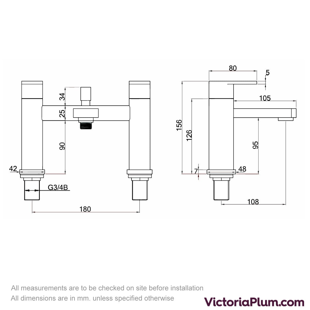 Dimensions for Kirke Connect bath shower mixer tap