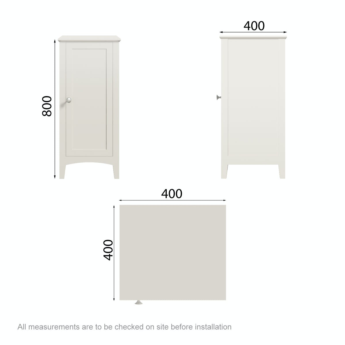 Dimensions for The Bath Co. Camberley ivory storage unit