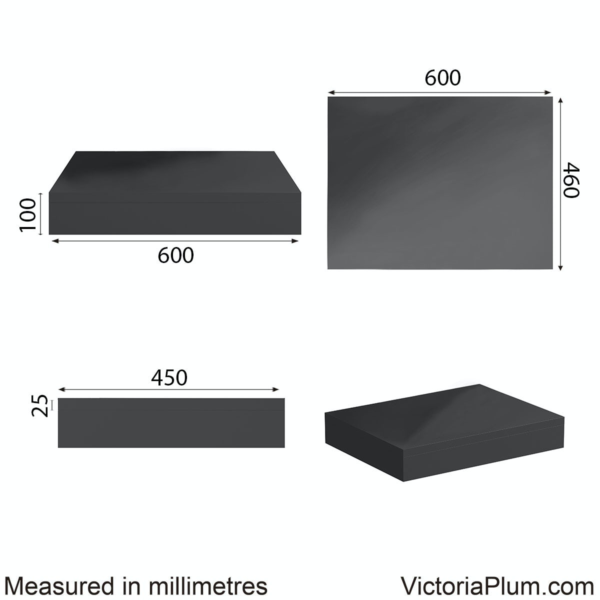 Dimensions for Mode Orion slate wall hung countertop basin shelf