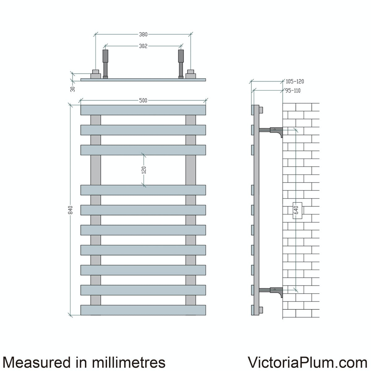 Dimensions for Mode Daisy 10 bar heated towel rail 840 x 500