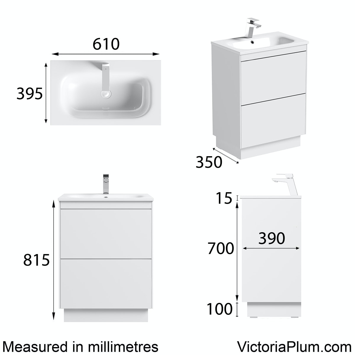 Dimensions for Mode Austin white vanity unit and stone basin 600mm