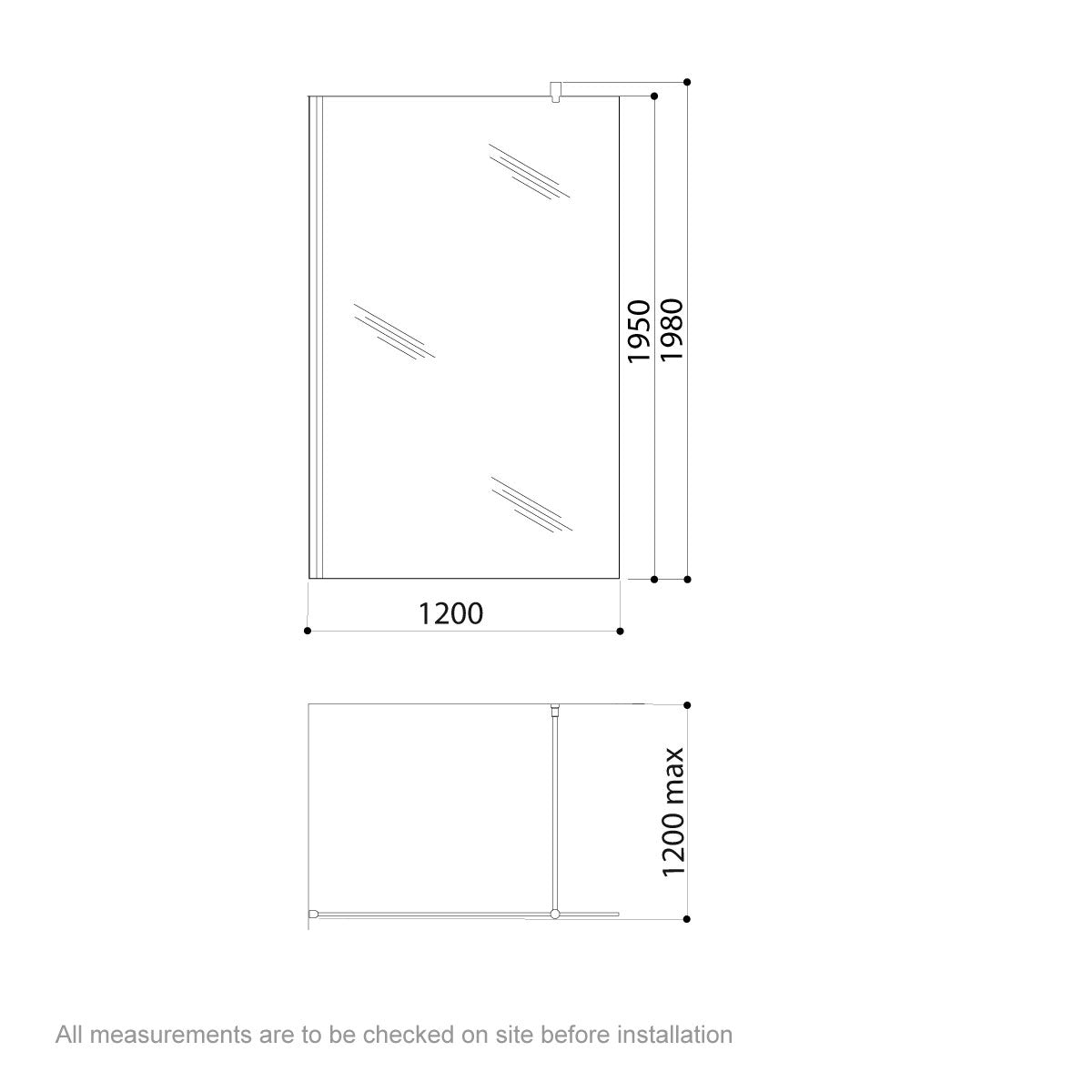 Dimensions for Jacuzzi Essentials wetroom glass panel 1200mm