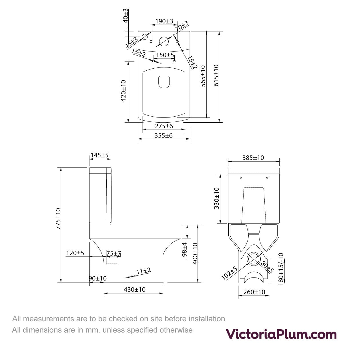 Dimensions for Vermont close coupled toilet inc soft close seat