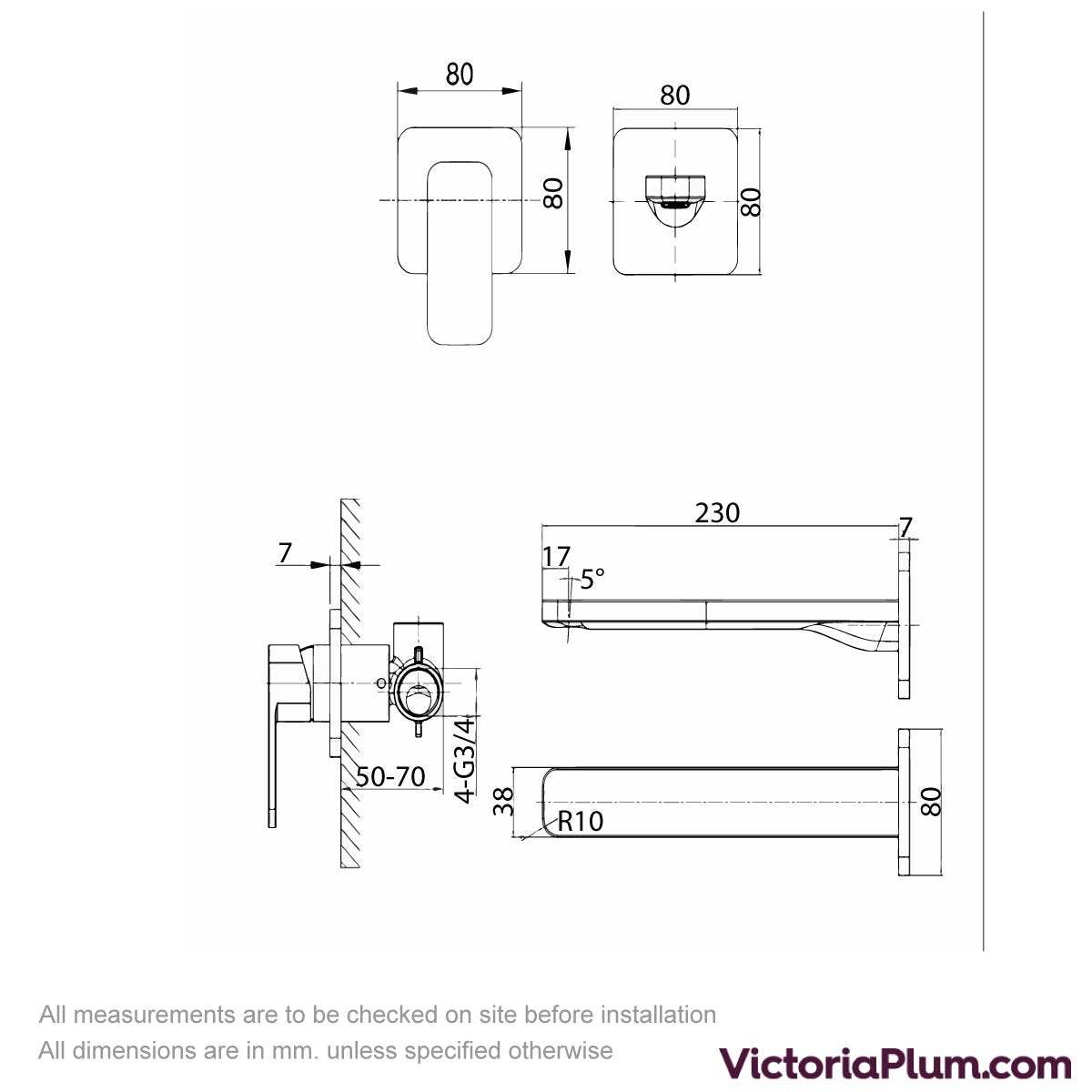 Dimensions for Mode Spencer square wall mounted bath mixer tap