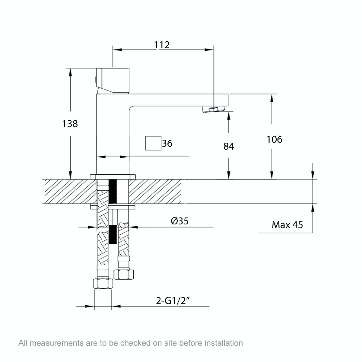 Dimensions for Mode Austin basin mixer tap