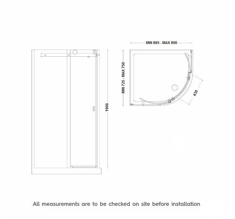 Dimensions for 900 x 760