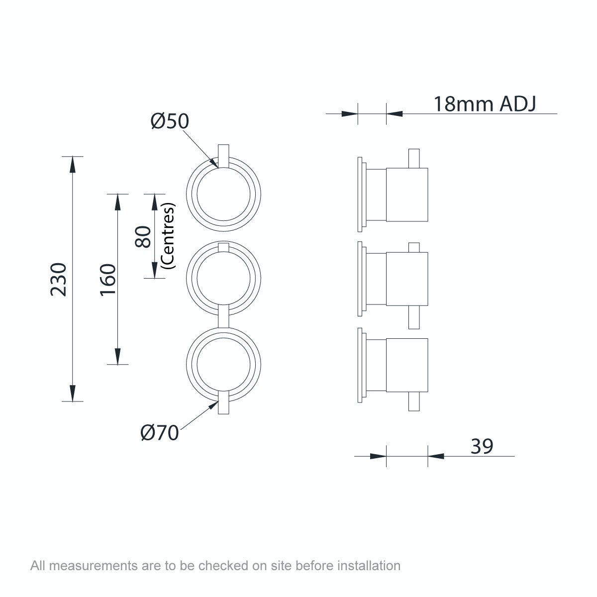 Dimensions for Mode Hardy round triple thermostatic shower valve with diverter