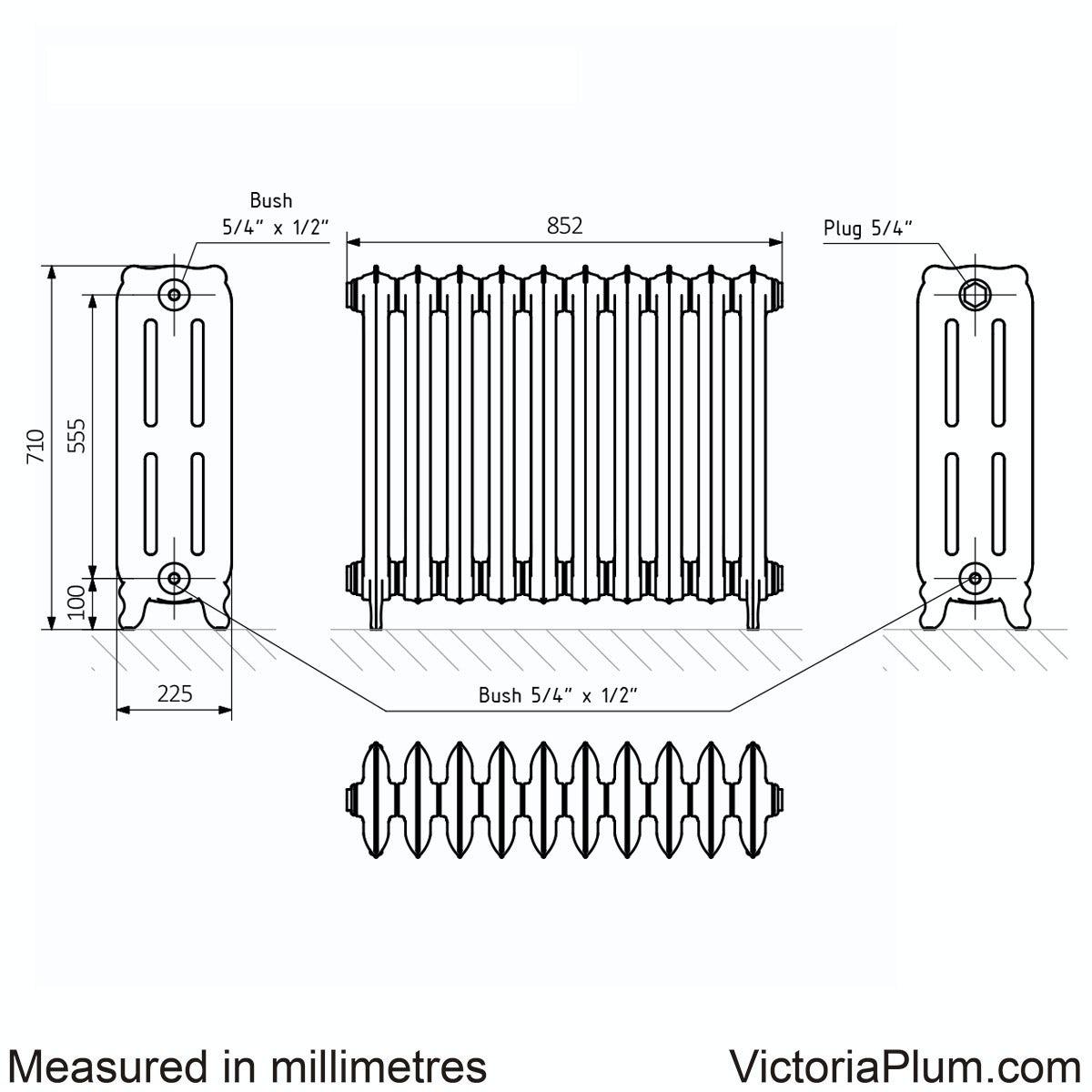 Dimensions for Terma Oxford raw metal freestanding cast iron radiator 710 x 852