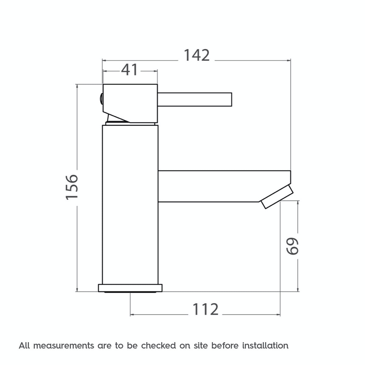 Dimensions for Cubik basin mixer tap