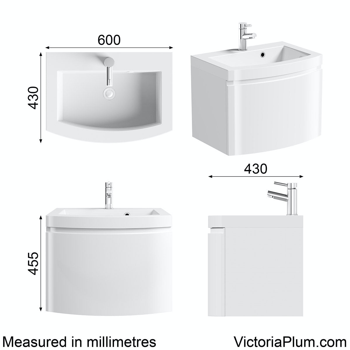Dimensions for Mode Harrison snow wall hung vanity unit and basin 600mm