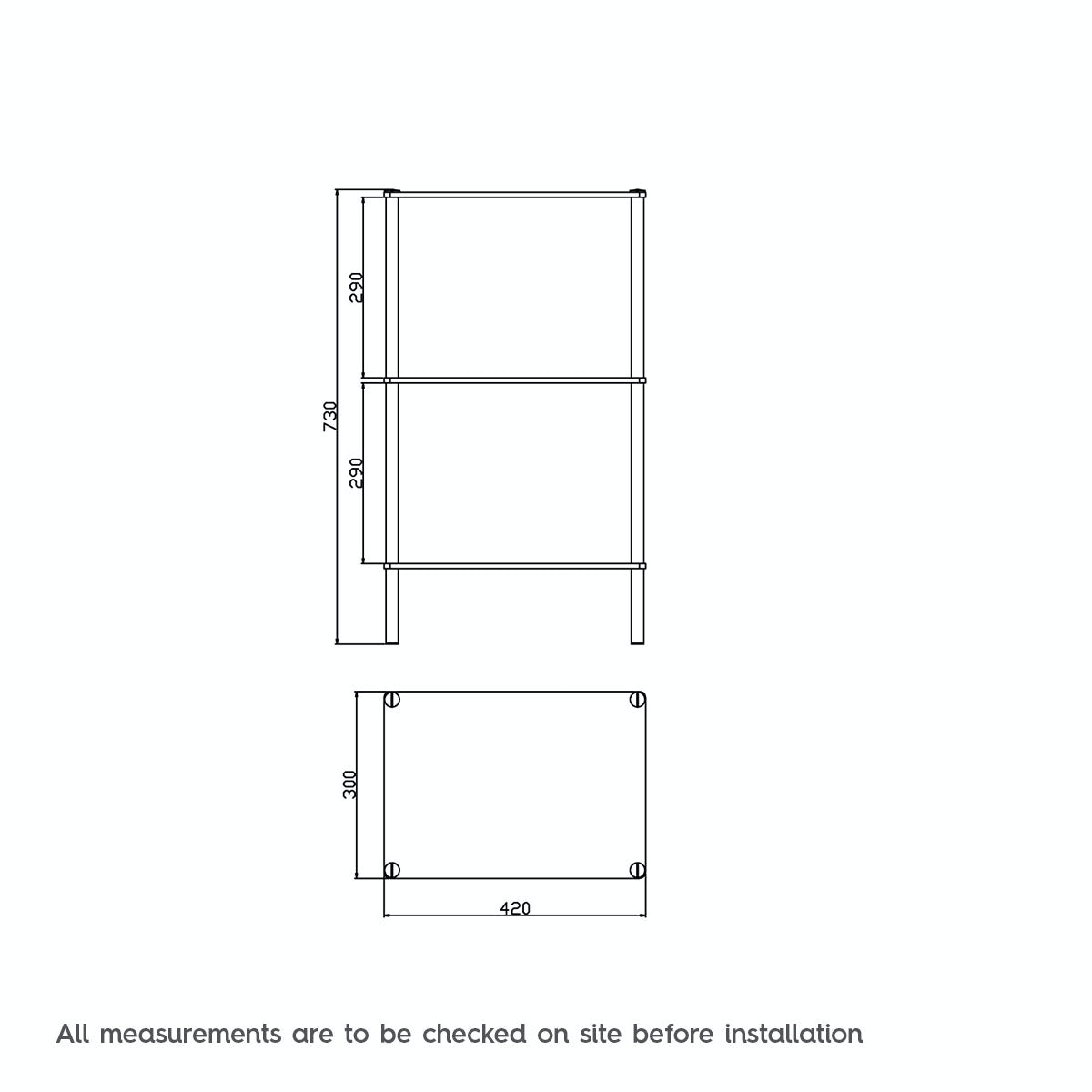 Dimensions for Orchard Options freestanding square 3 glass shelf unit