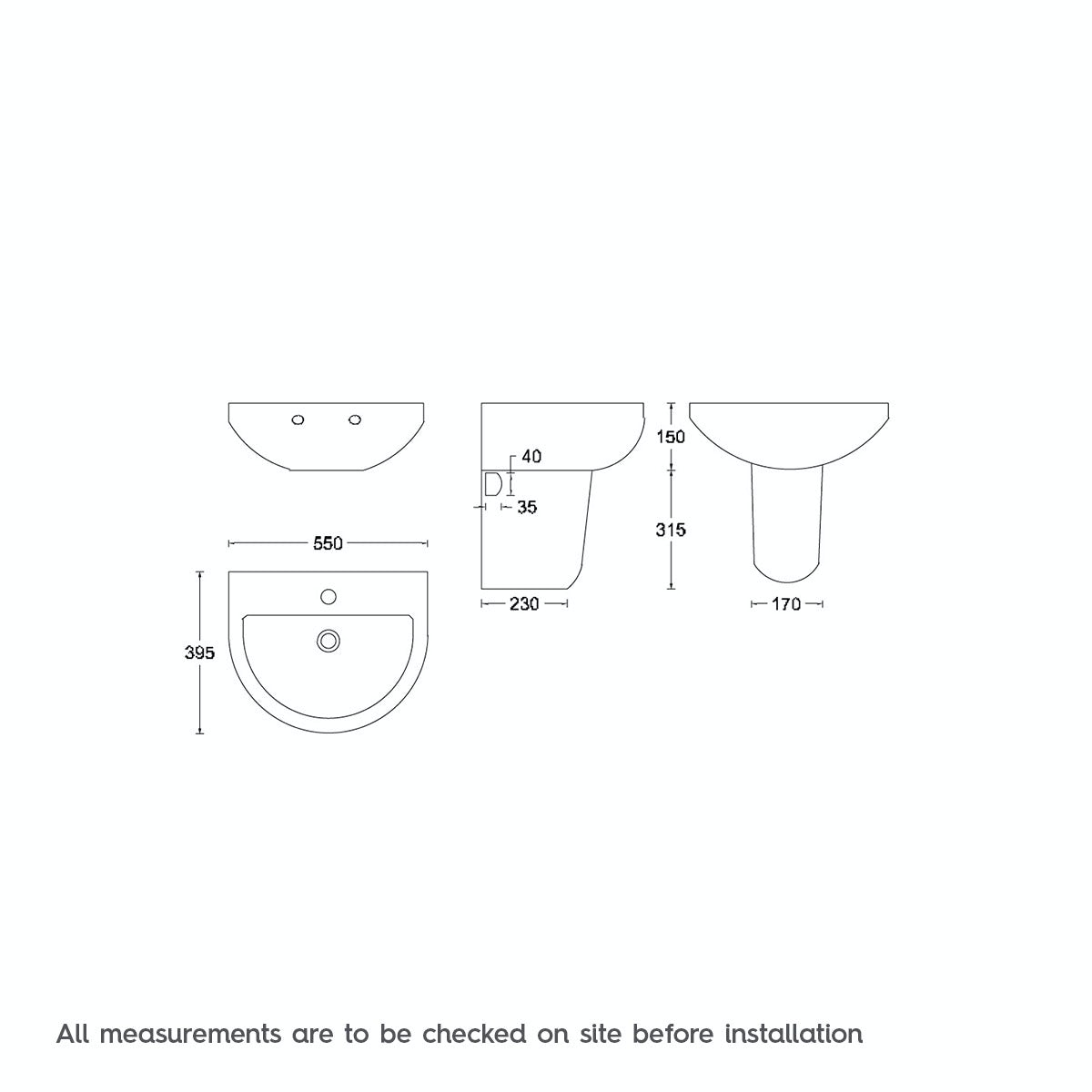 Dimensions for 450 basin