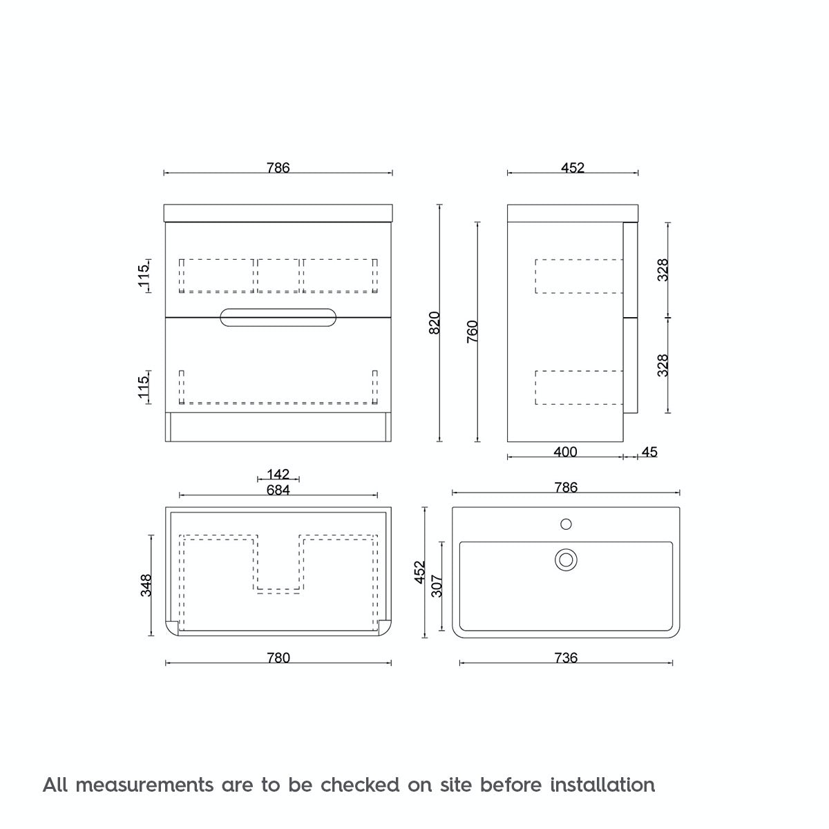 Dimensions for ModeEllis select slatevanity drawer unit and basin 800mm