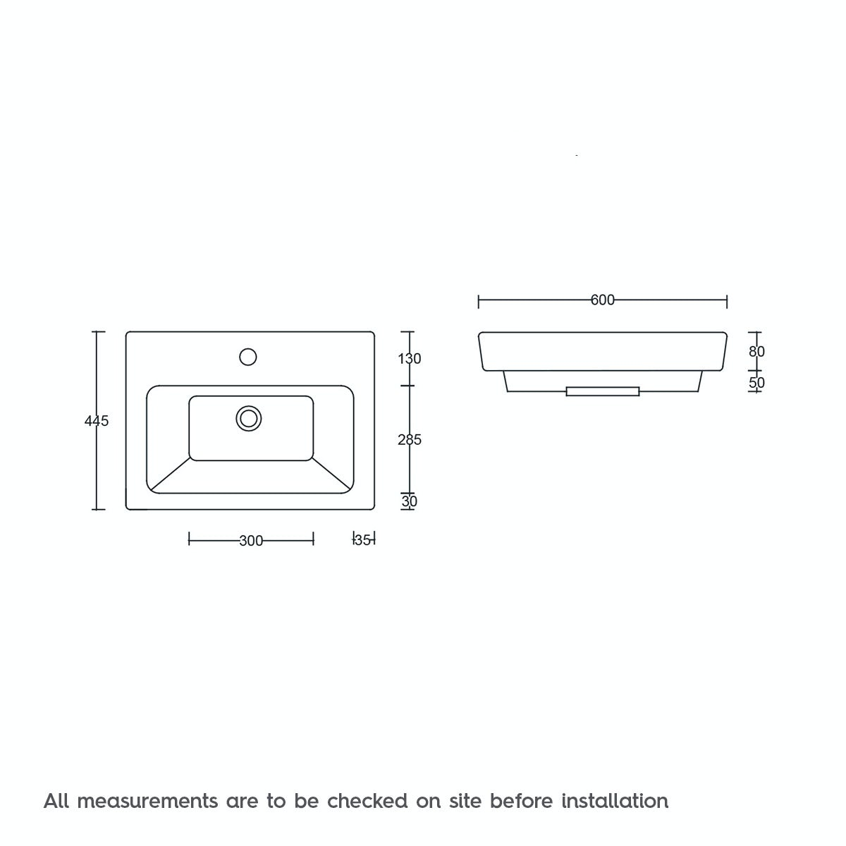 Dimensions for Mode Verso 1 tap hole wall hung basin 600mm