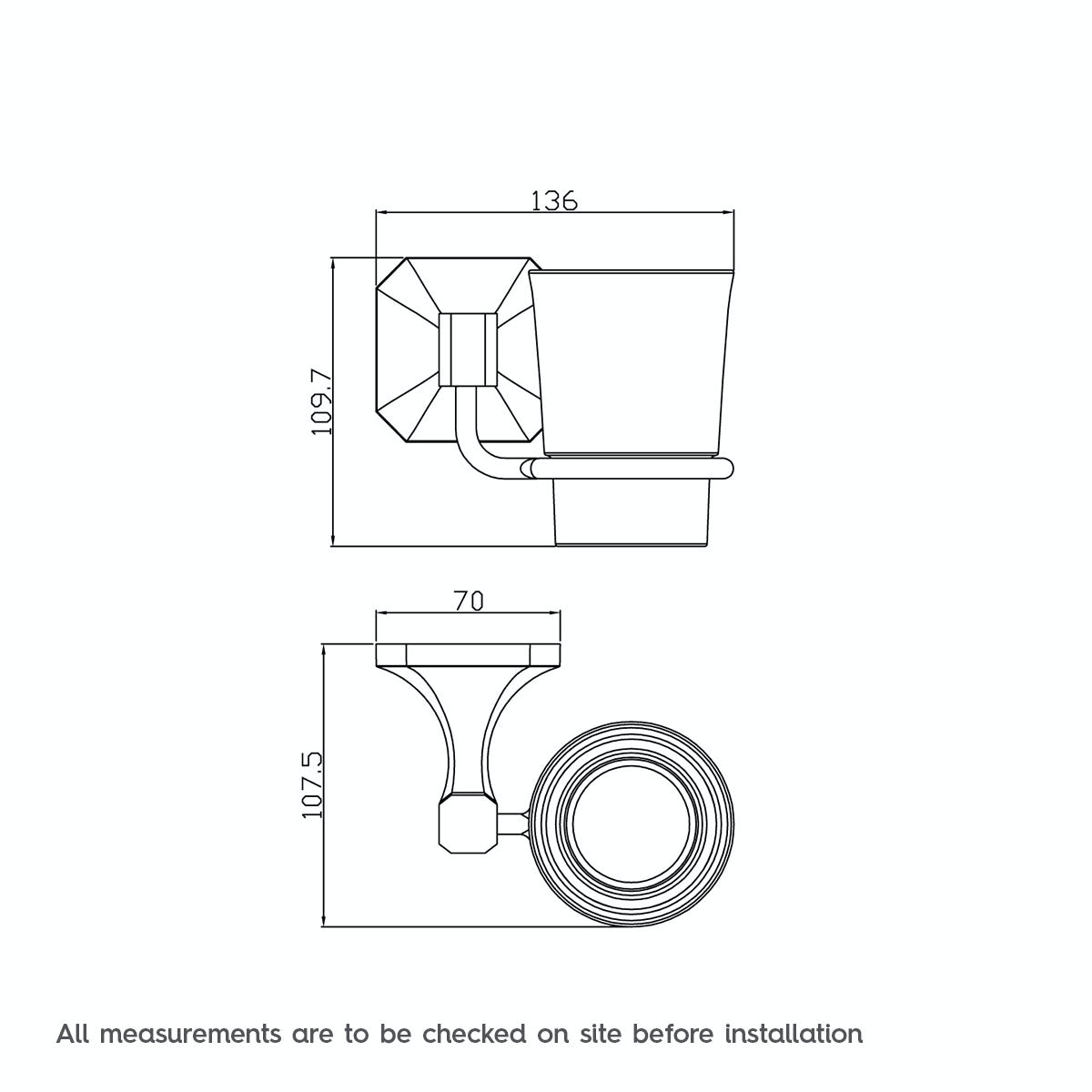 Dimensions for The Bath Co. Camberley ceramic tumbler and holder