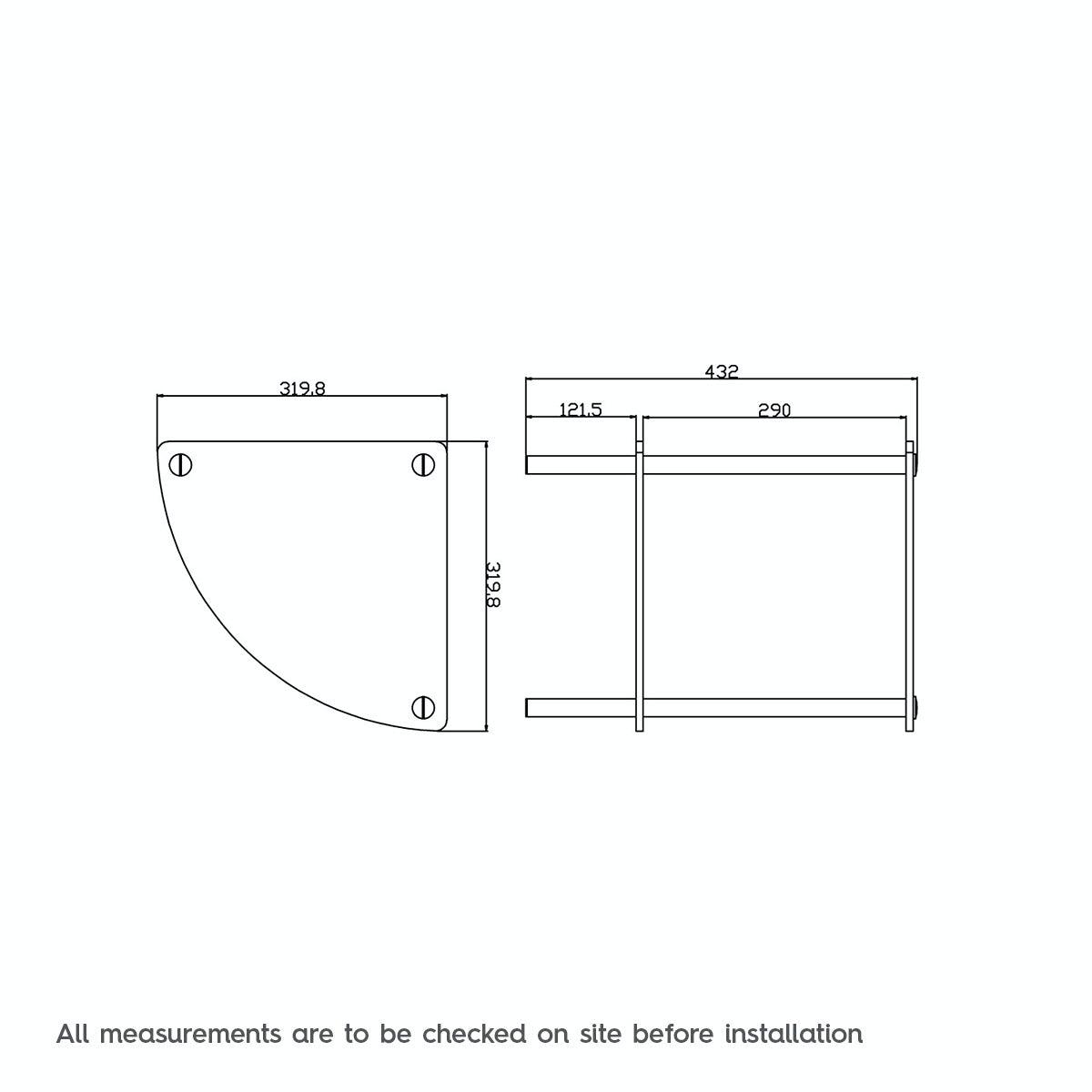 Dimensions for Orchard Options freestanding quadrant 2 glass shelf unit