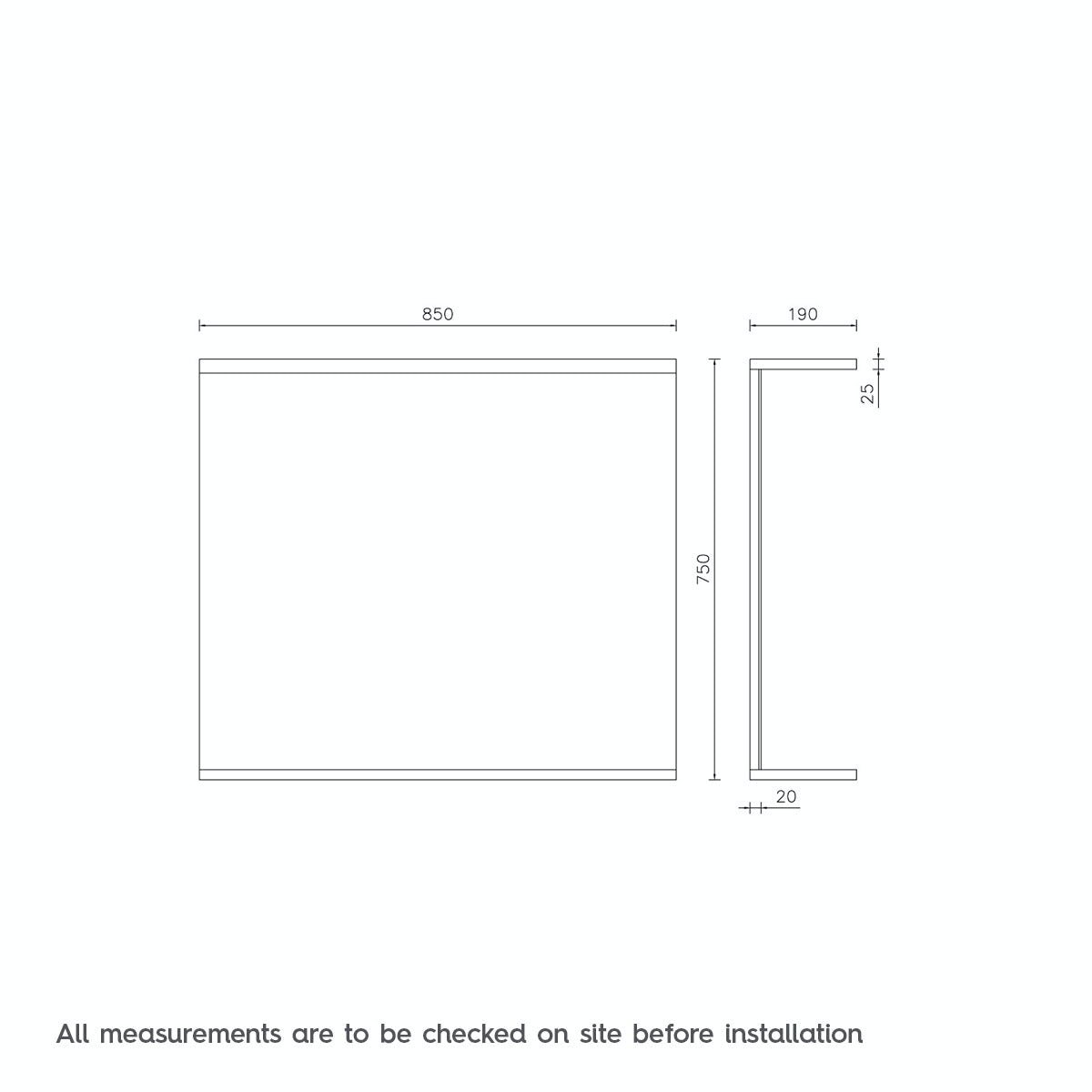 Dimensions for Orchard Florence white bathroom mirror 850mm