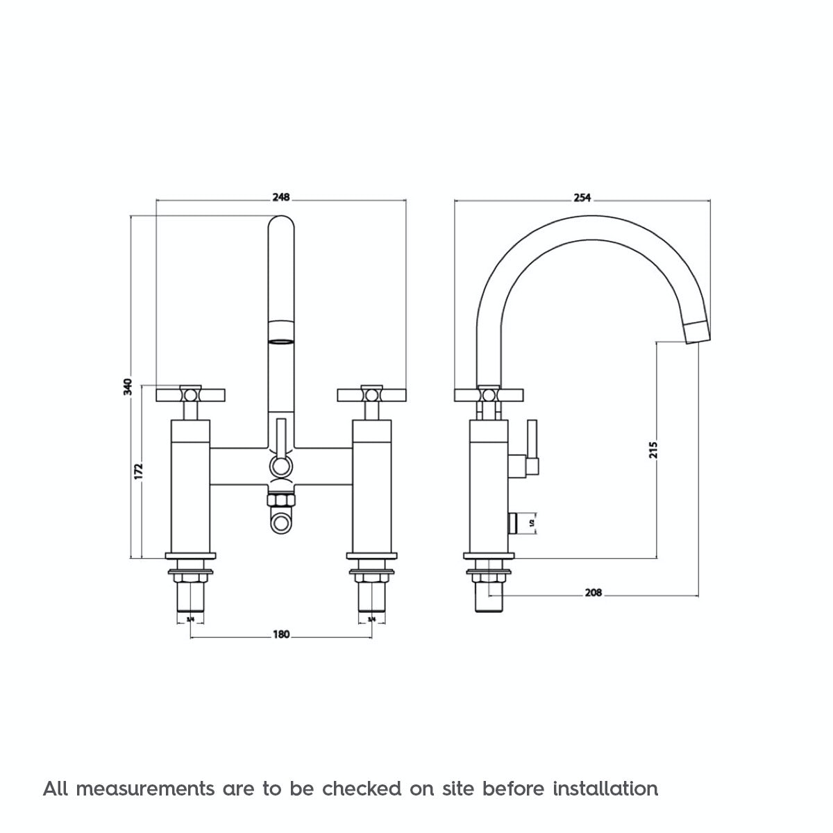 Dimensions for Mode Alexa bath shower mixer tap