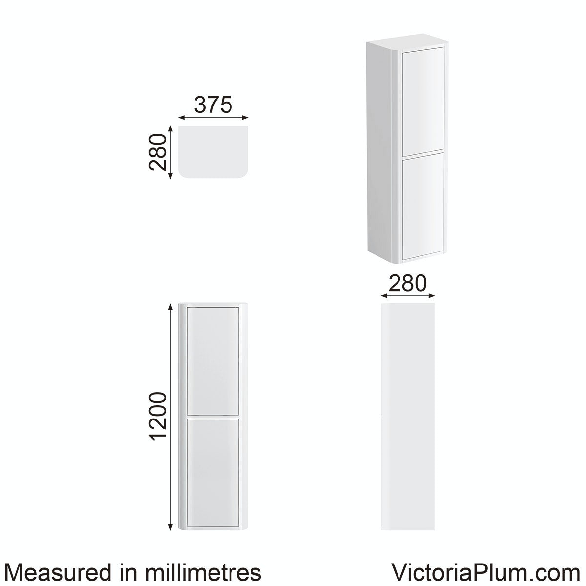 Dimensions for Mode Carter ice white tall wall cabinet