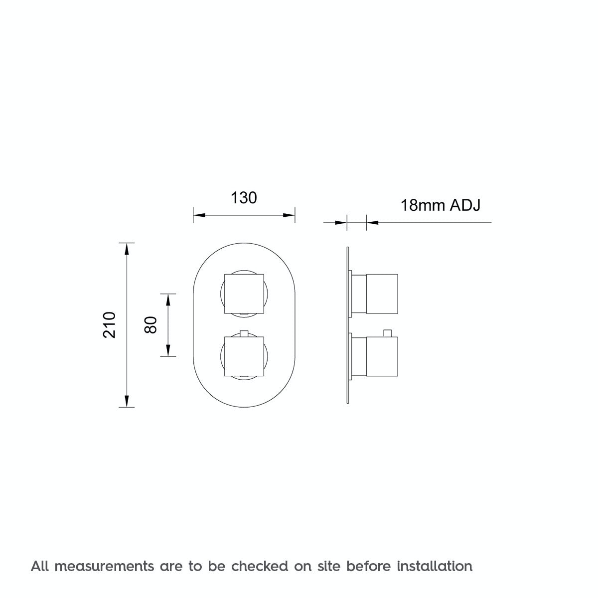 Dimensions for Mode Cubik oval twin thermostatic shower valve