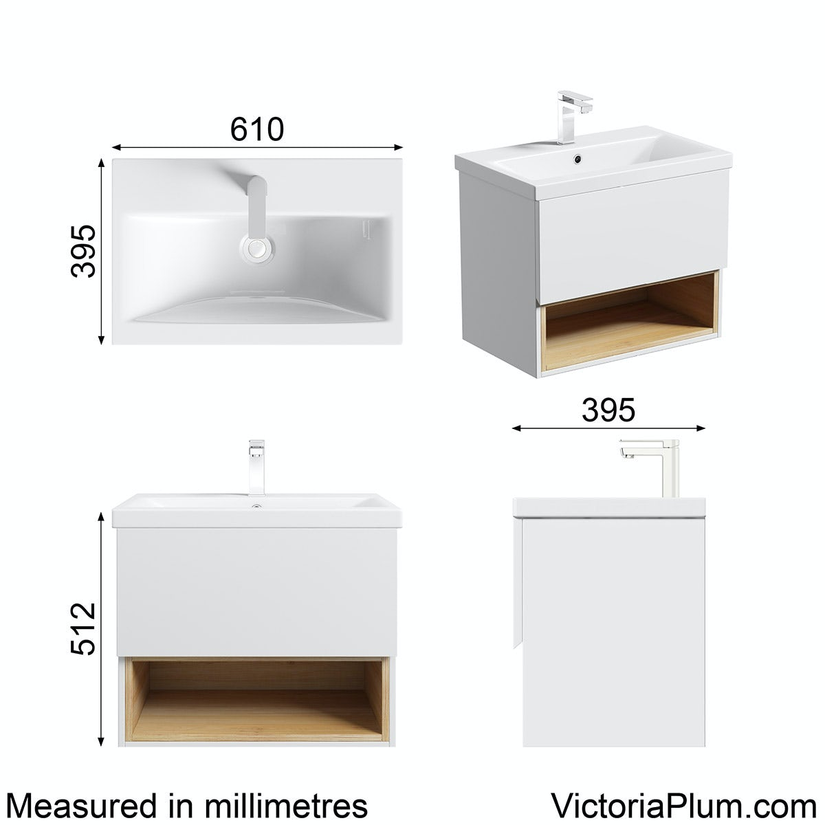 Dimensions for Mode Tate white & oak 600 wall hung vanity unit with basin