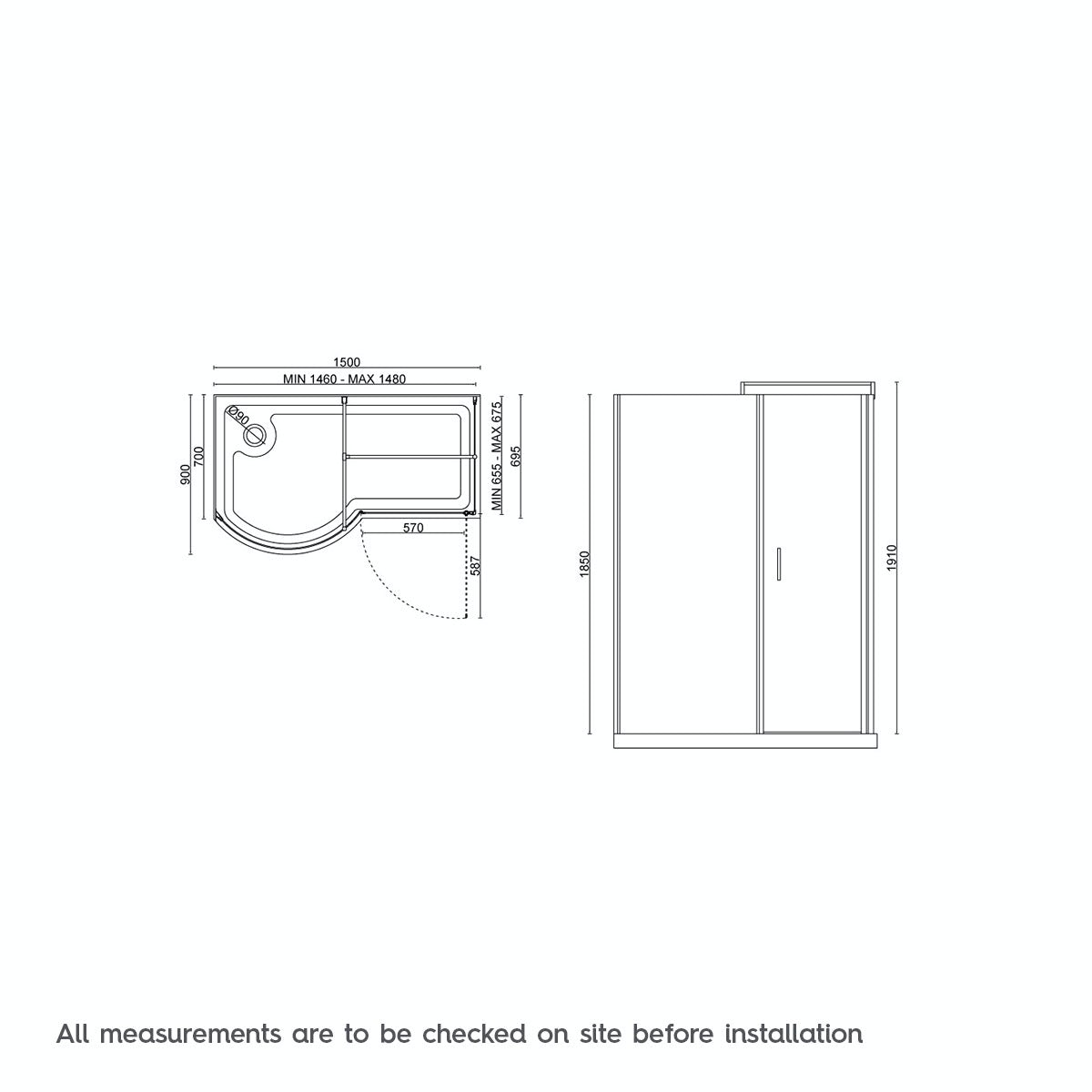Dimensions for 6mm left handed P shaped shower enclosure 1500 x 900
