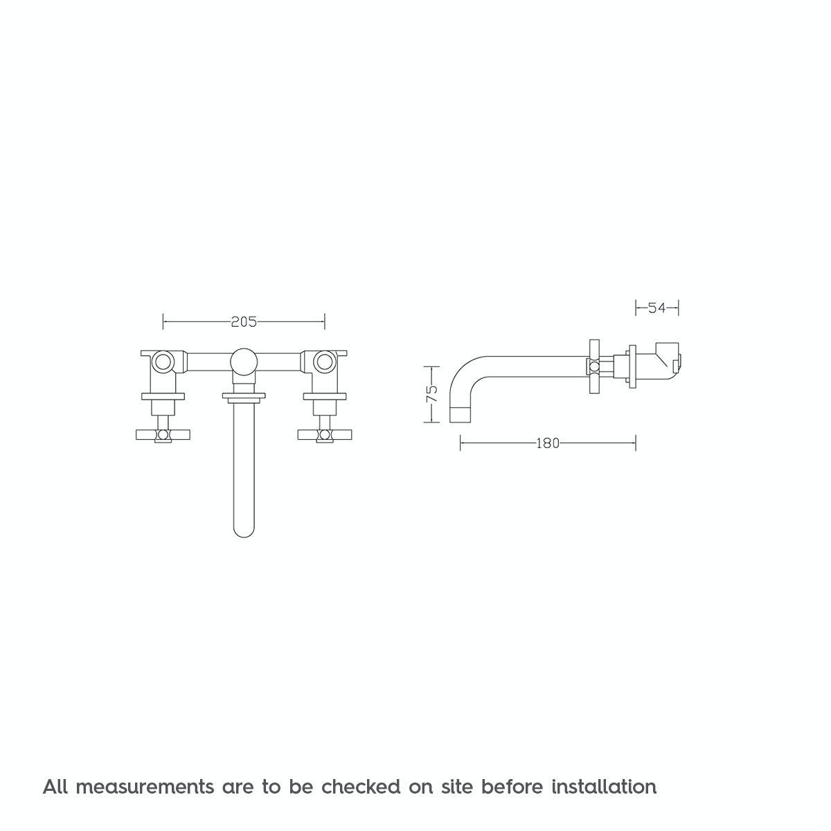 Dimensions for Mode Tate wall mounted basin filler tap