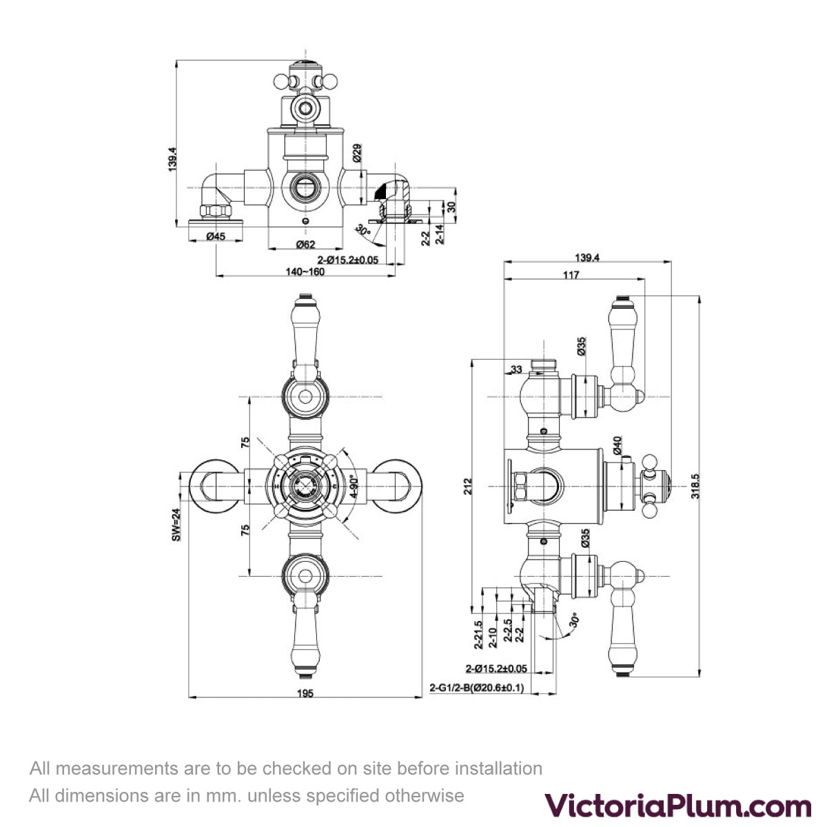 Dimensions for The Bath Co. Winchester exposed shower valve with dual outlet