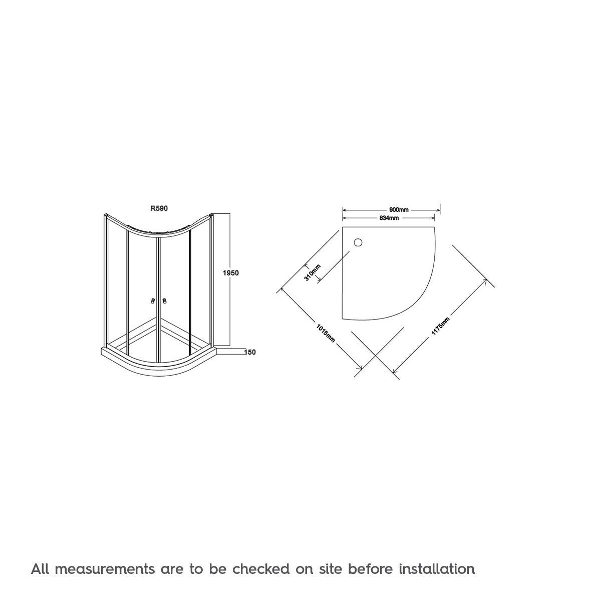 Dimensions for Valencia shower cabin