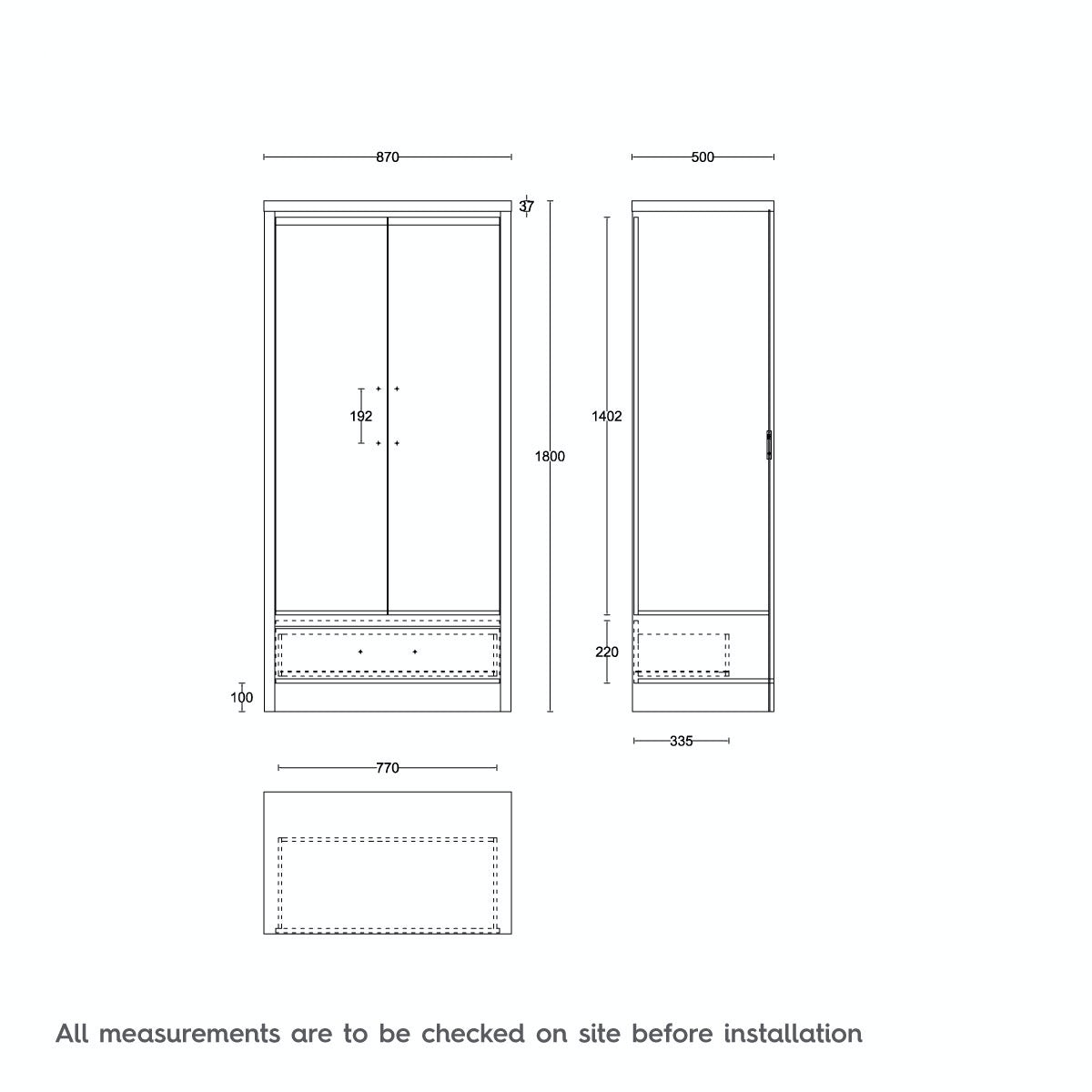 Dimensions for MFI London walnut and black gloss 2 door, 1 drawer wardrobe