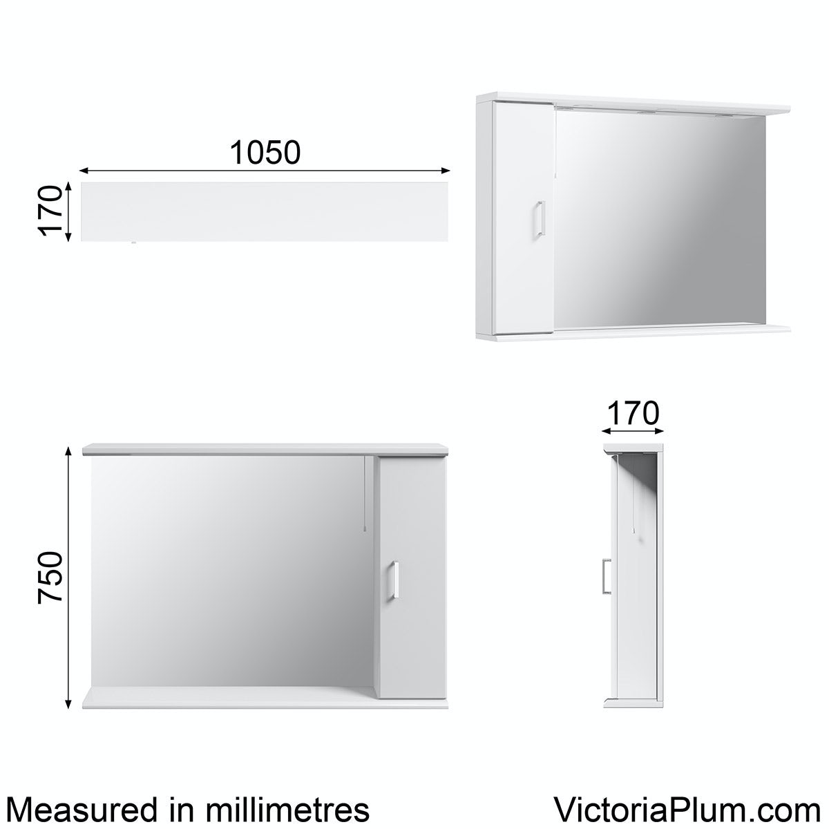 Dimensions for Sienna white bathroom mirror with lights 1050mm