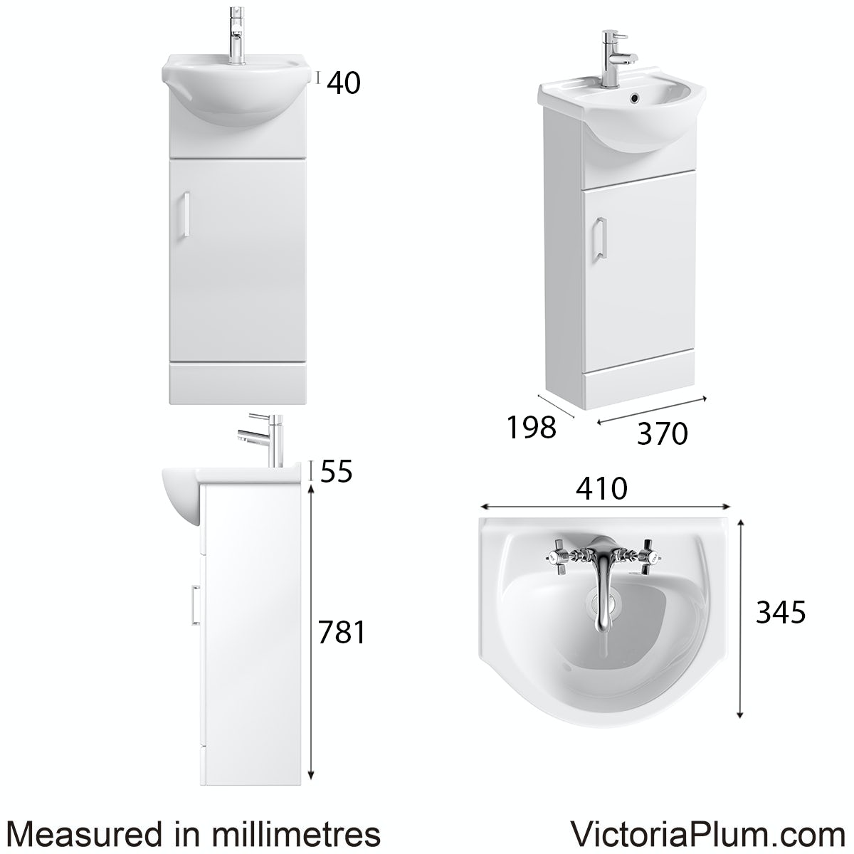 Dimensions for Orchard Eden white vanity unit and basin 410mm