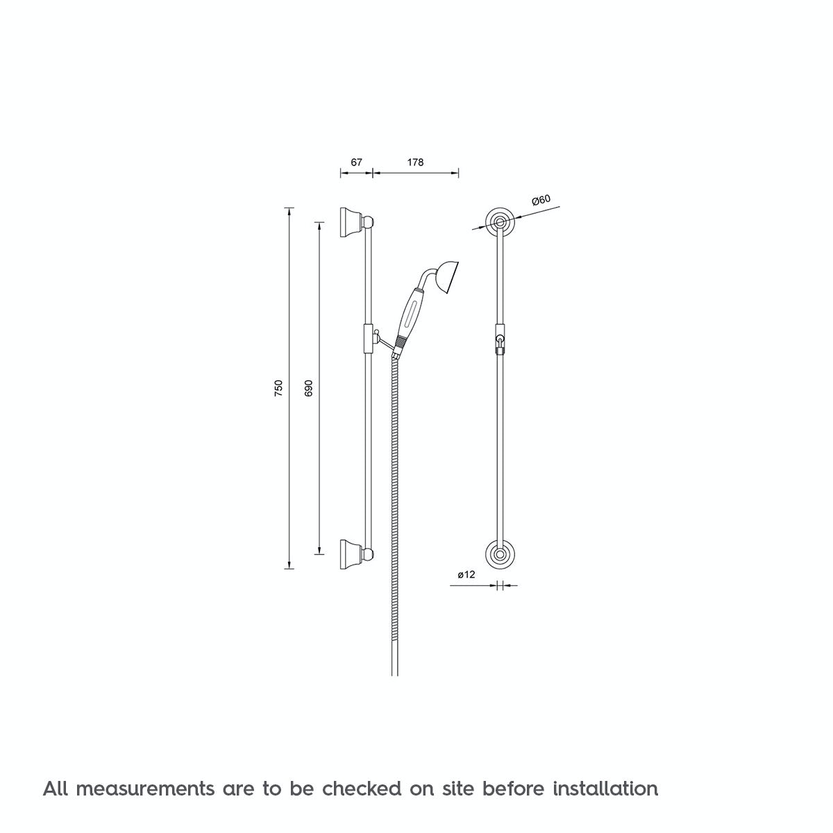 Dimensions for The Bath Co. Traditional sliding shower rail kit
