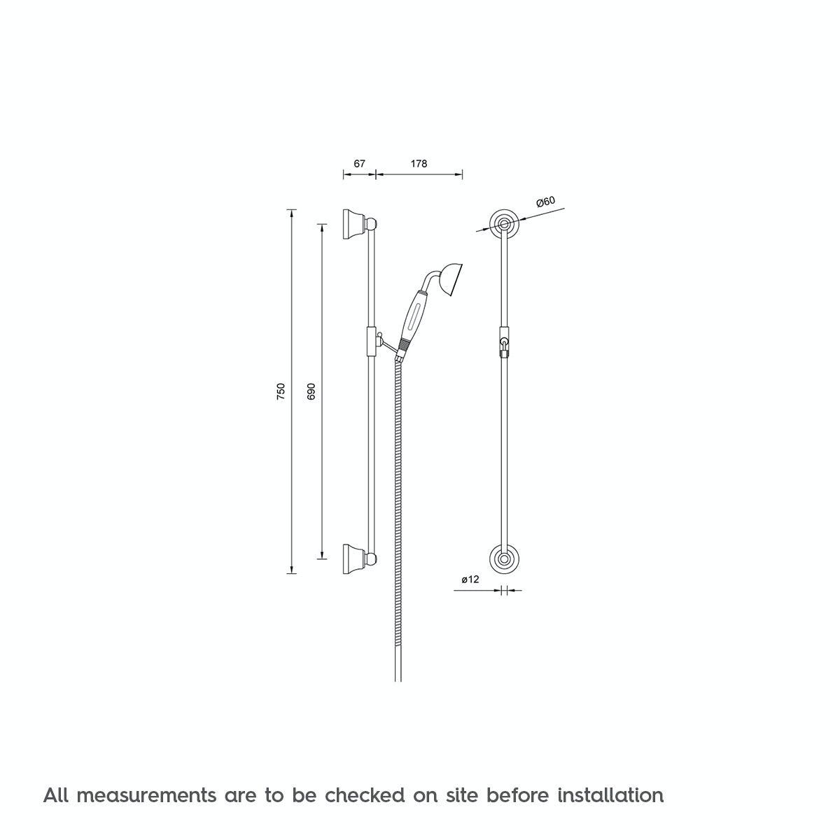The Bath Co. Traditional sliding shower rail kit | VictoriaPlum.com