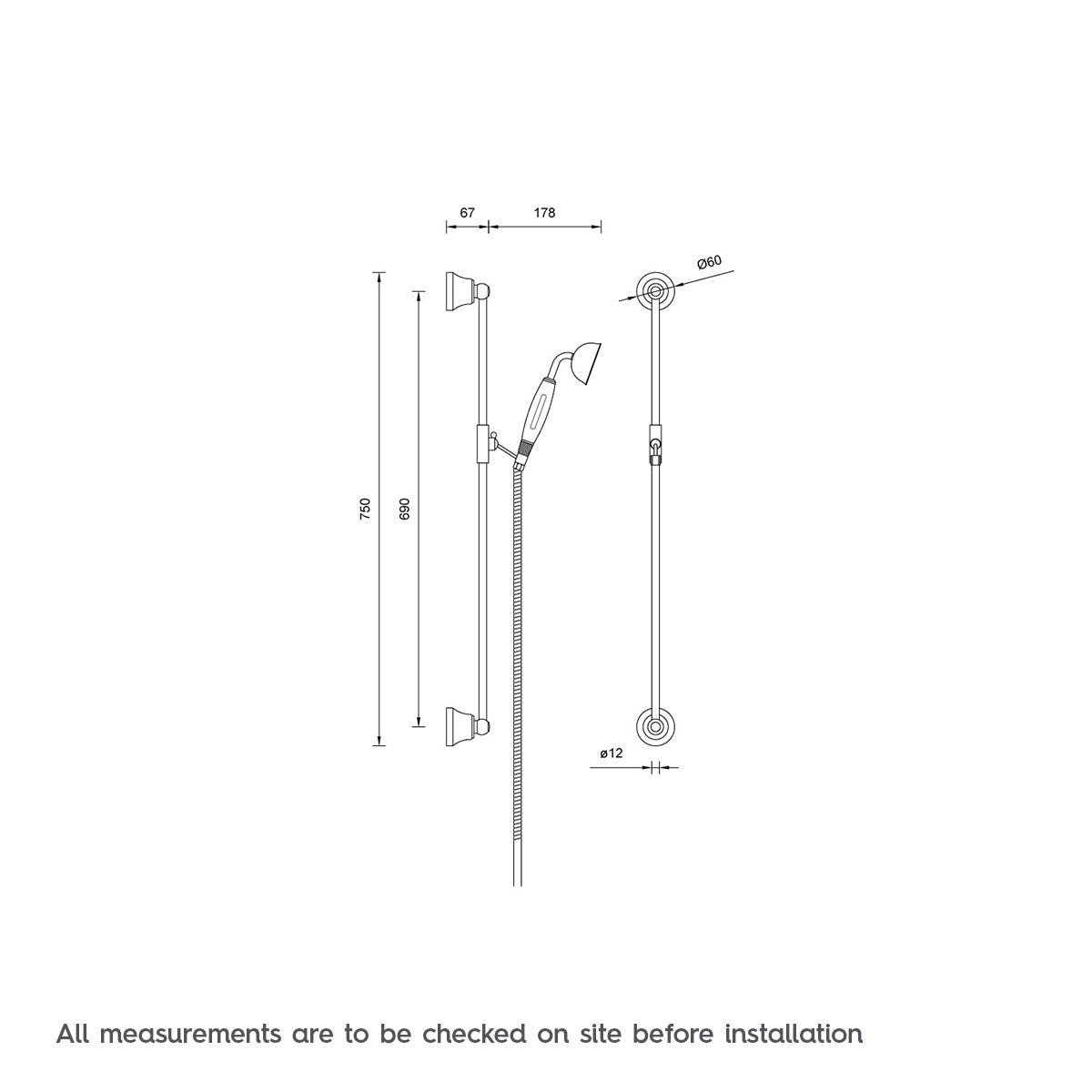 Traditional Sliding Shower Rail Kit