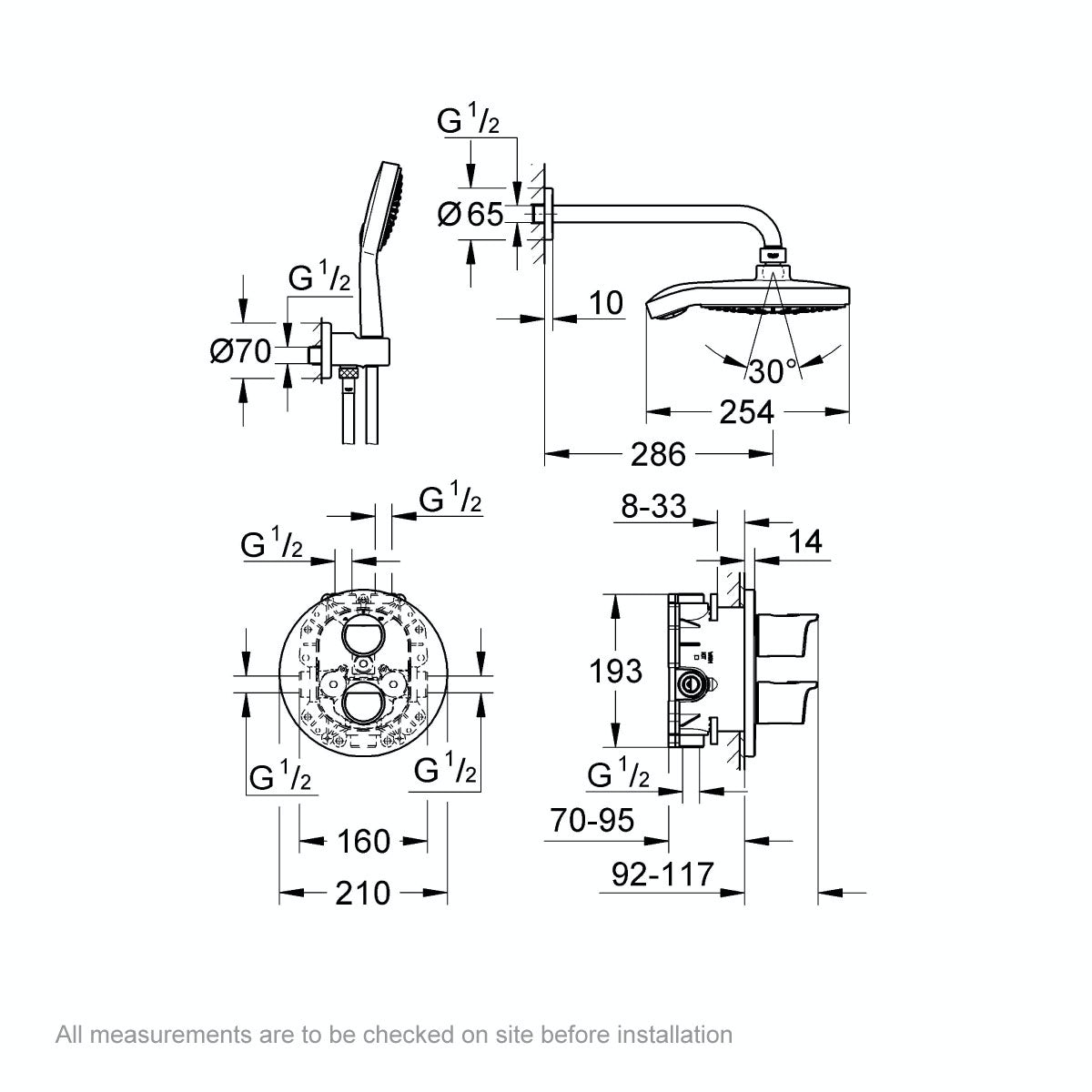 Dimensions for Grohe Grohtherm 2000 concealed thermostatic shower set