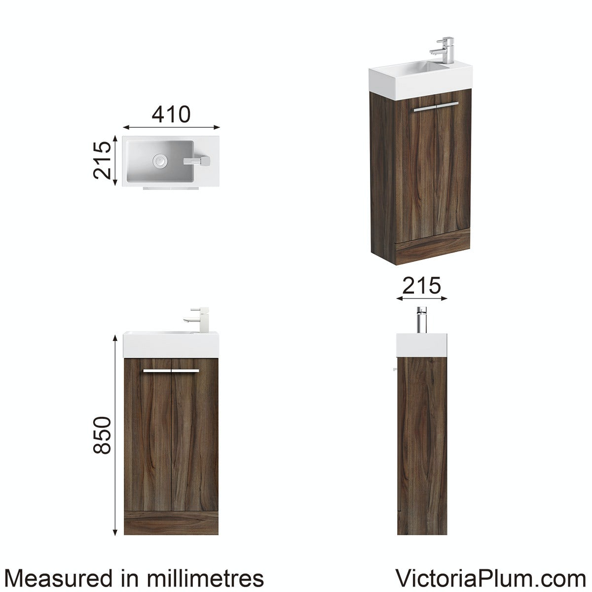 Dimensions for Orchard Walnut cloakroom unit with resin basin 410mm
