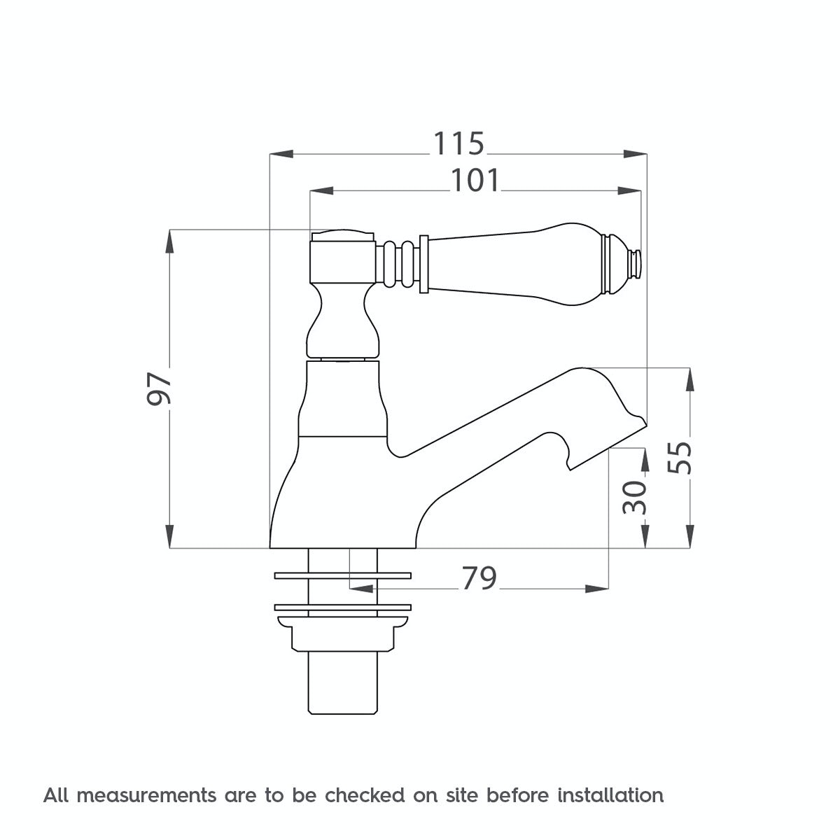 Dimensions for The Bath Co. Winchester basin pillar taps