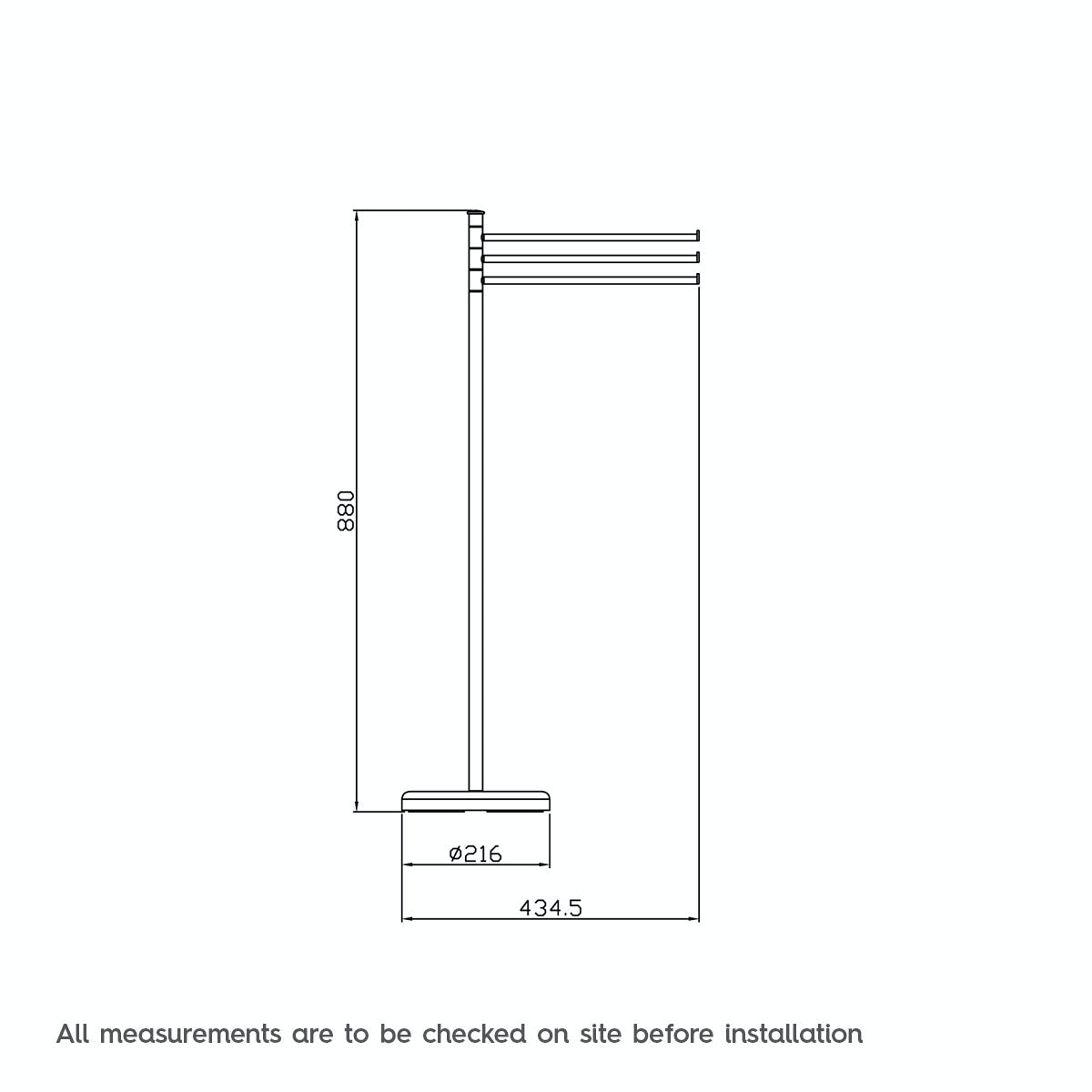 Dimensions for Orchard Options contemporary freestanding towel rail