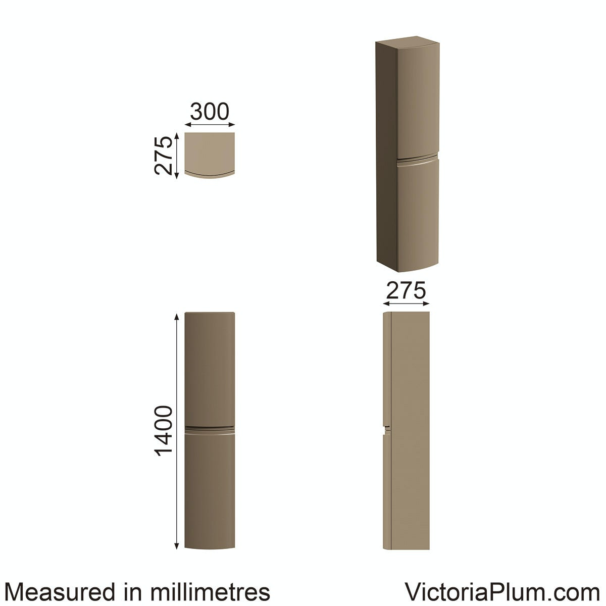 Dimensions for Mode Harrison mocha wall hung storage cabinet