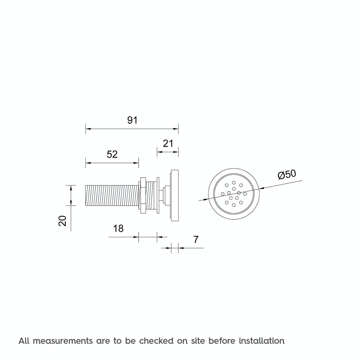 Dimensions for Mode Round shower body jet