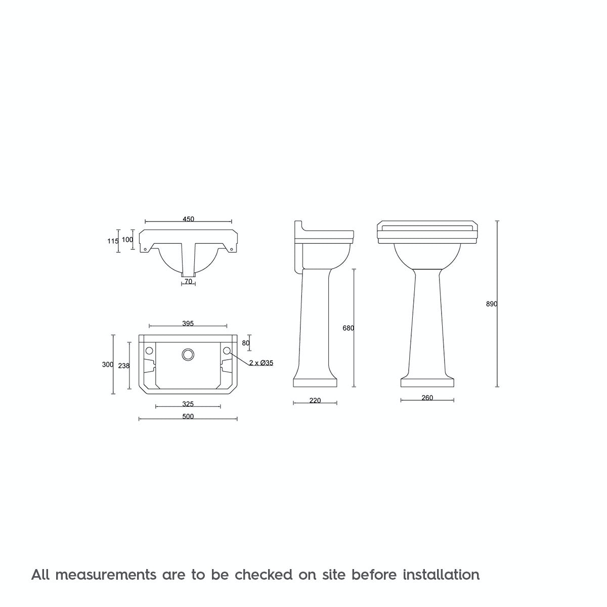Dimensions for The Bath Co. Camberley 2 tap hole full pedestal basin 500mm