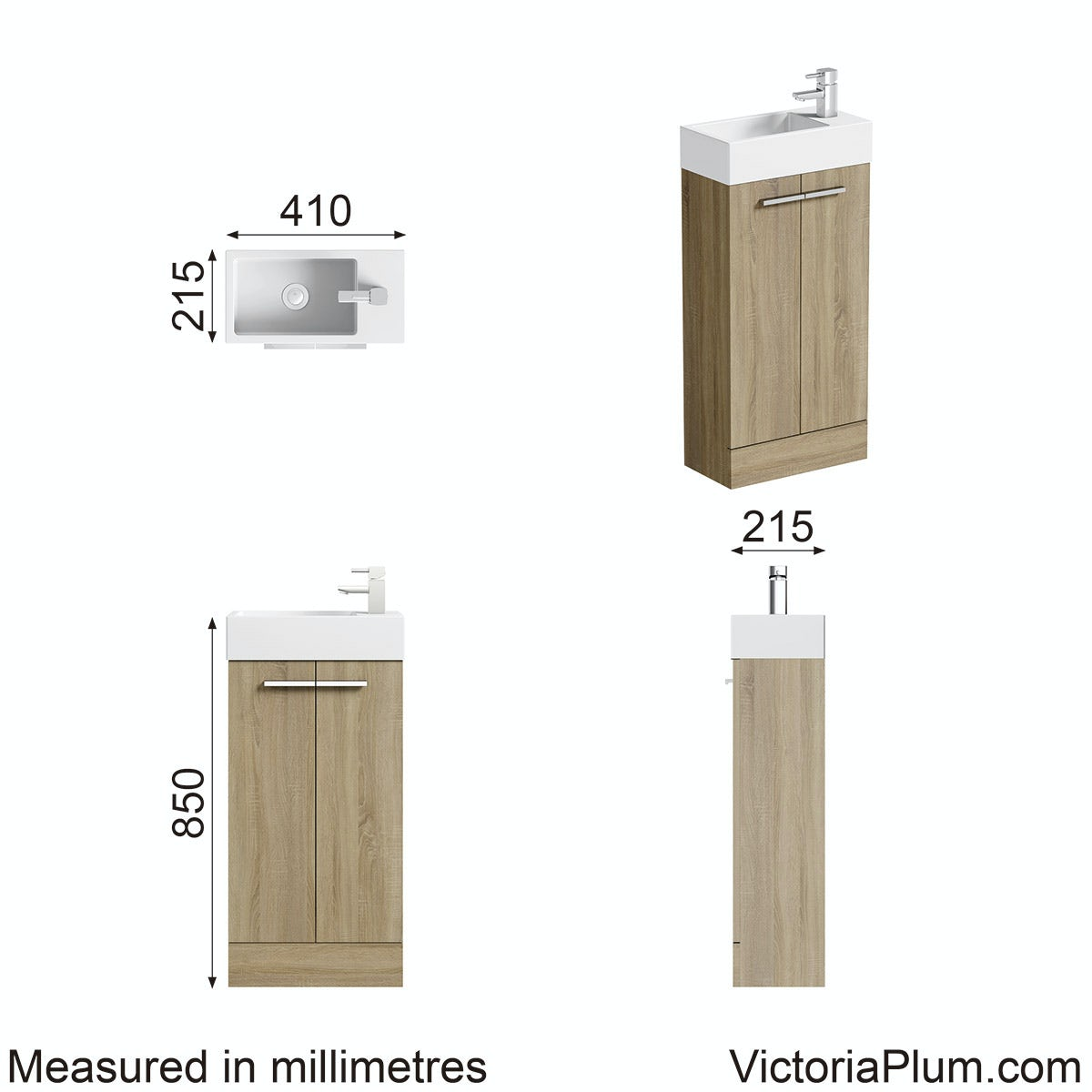 Dimensions for Orchard Oak cloakroom unit with basin 410mm
