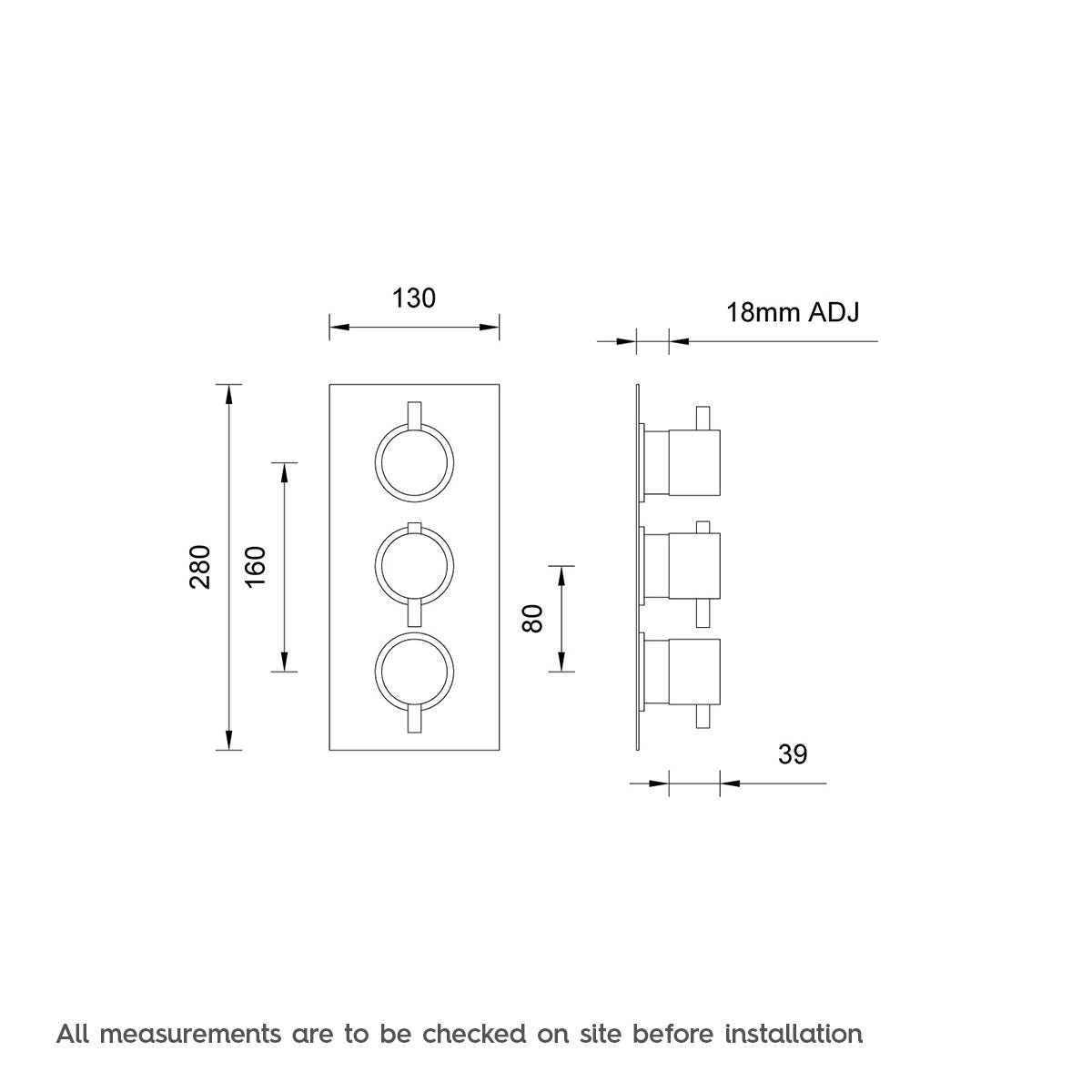Dimensions for Mode Matrix square triple thermostatic shower valve with diverter
