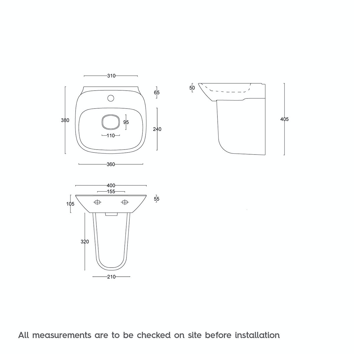 Dimensions for Mode Heath 1 tap hole semi pedestal basin 400mm