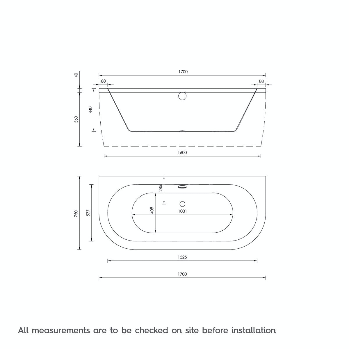 Dimensions for Orchard Elsdon D shaped double ended back to wall bath