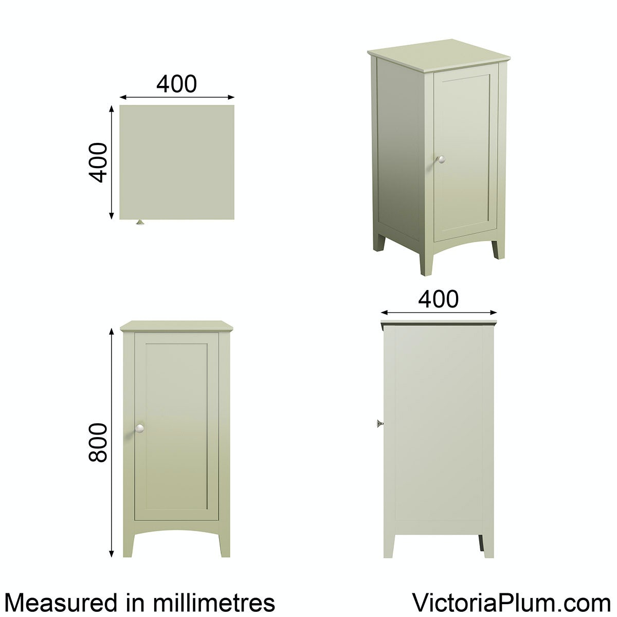Dimensions for The Bath Co. Camberley sage storage unit
